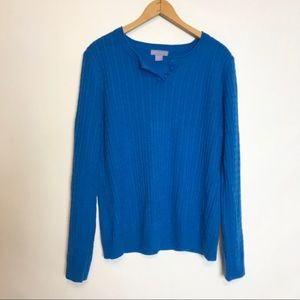 Laura Scott Womens 1 X Blue Cable Knit Sweater